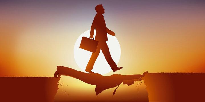 Concept de l'ambition d'un homme opportuniste, qui profite de la faiblesse de son concurrent pour prendre le leadership, en n'hésitant pas à lui marcher dessus pour atteindre son objectif