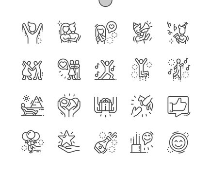 Happy Well-crafted Pixel Perfect Vector Thin Line Icons 30 2x Grid for Web Graphics and Apps. Simple Minimal Pictogram