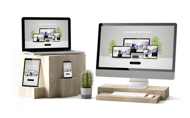 Wall Mural - wooden cubes devices isolated responsive website