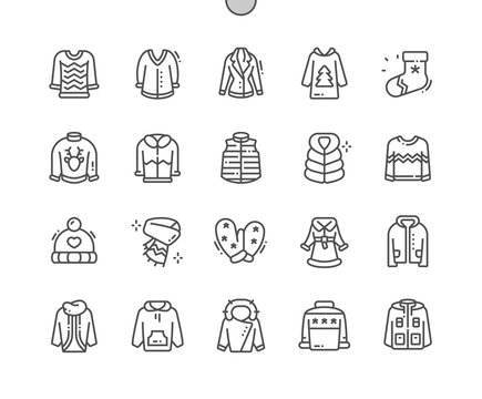Winter clothes Well-crafted Pixel Perfect Vector Thin Line Icons 30 2x Grid for Web Graphics and Apps. Simple Minimal Pictogram