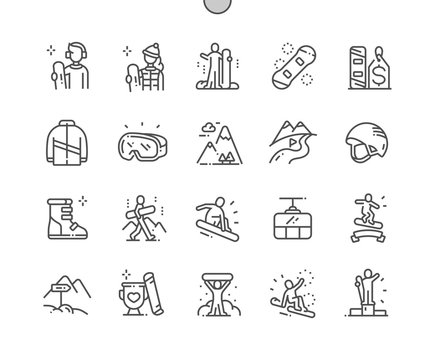 Snowboarding Well-crafted Pixel Perfect Vector Thin Line Icons 30 2x Grid for Web Graphics and Apps. Simple Minimal Pictogram