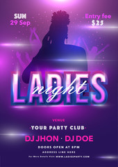 Ladies Night Party invitation card or flyer design with silhouette female and event details on purple background.