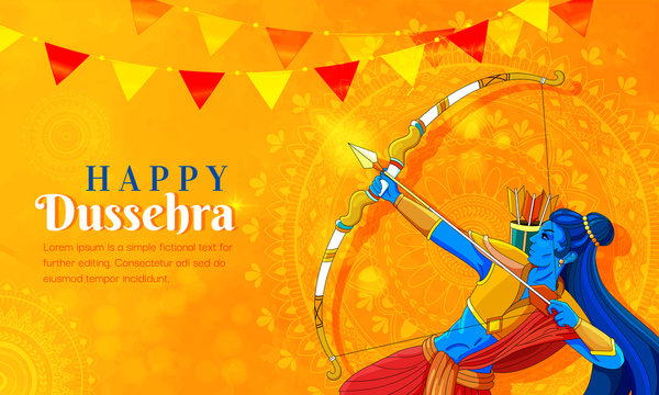 illustration of Lord Rama killing Ravana in Navratri festival of India poster for Happy Dussehra. Vector illustration