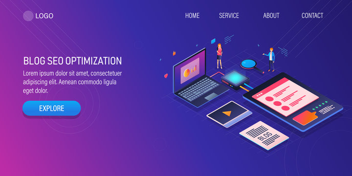Business blogging, optimize blog post for seo, content strategy concept with blogger characters. 3d isometric design template.
