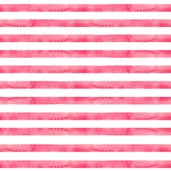 Watercolor hand drawn seamless pattern with abstract stripes in red color   isolated on white background