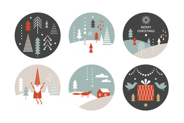 set of round label with winter and Christmas illustrations. Happy New Year, Greeting cards