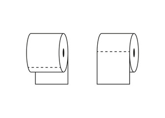 toilet tissue paper roll outline icon, vector