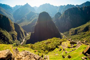 Vew of the Urubamba River and Putucusi Mountain from Machu Picchu.