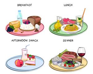 Receiving food, different food, vector illustration