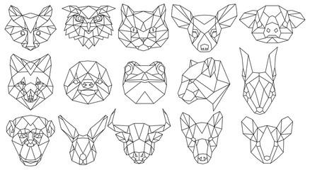 Set of polygonal animal portraits. Collection of geometric animal heads. Black white illustration. Linear art. Tattoo.