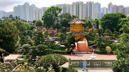 Chinesische Pagode im Nan Lian Garden mit Hochhäusern und Parkanlage in Hongkong Wall mural