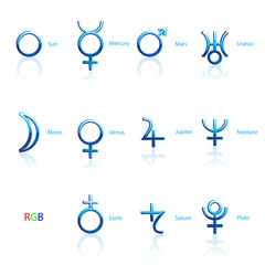Collection of Astrological Planets Symbols on a White Background. Signs Collection: Sun Earth Moon Saturn Uranus Neptune Jupiter Venus Mars Pluto Mercury