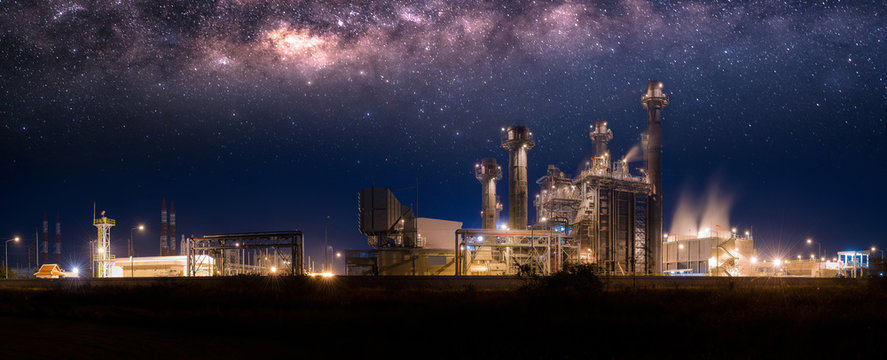 Power plant zone generating electricity at night- images