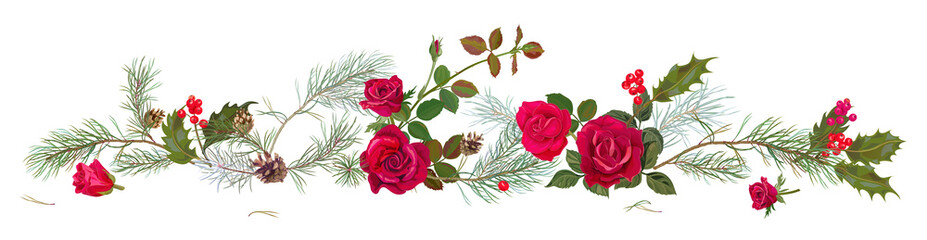 Panoramic view with red roses, pine branches, cones, holly berry. Horizontal border with Christmas tree on white background. Decorative botanical illustration in watercolor style for design, vector Wall mural