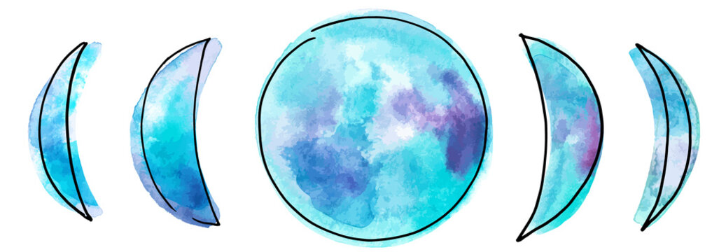 Phases of the moon, vector and watercolor drawing in teal blue