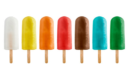 variety of fruits ice lolly, isolated on white background