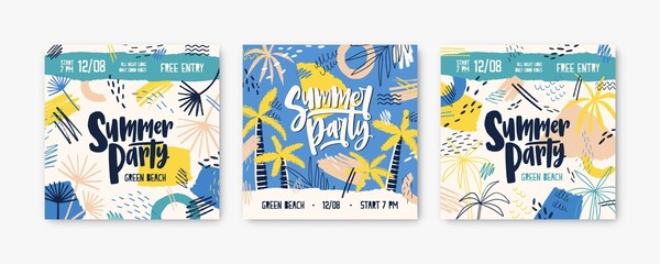 Summer party vector banner templates set. Dj festival invitation decorated with palm trees and tropical beach. Music concert, fest promotion. Summertime concert posters, social media post design. Wall mural