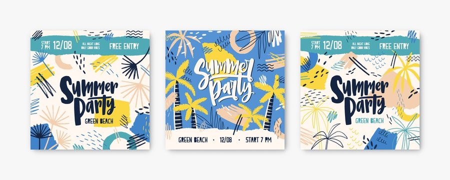 Summer party vector banner templates set. Dj festival invitation decorated with palm trees and tropical beach. Music concert, fest promotion. Summertime concert posters, social media post design.