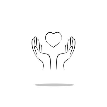 """Icon """"hands praying"""" with the heart. Vector graphics"""