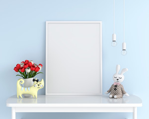 Empty photo frame for mockup on table, 3D rendering