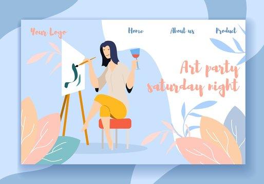 Art Party Saturday Night Horizontal Banner, Artist