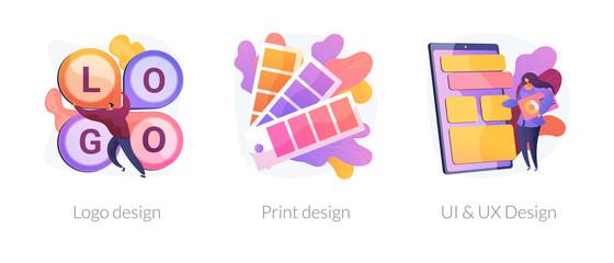 Wall Mural - Professional graphic designer, art studio service. User interface, experience development. Logo design, print design, UI and UX design metaphors. Vector isolated concept metaphor illustrations