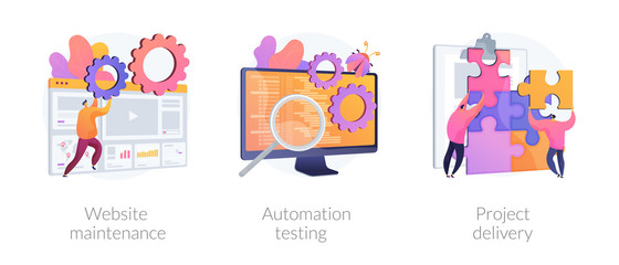 Internet site administration, support service. Bug fixing, teamwork management. Website maintenance, automation testing, project delivery metaphors. Vector isolated concept metaphor illustrations