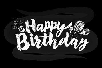 Happy Birthday Hand lettering on chalkboard. Vector