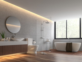 Contemporary loft style bathroom 3d render,The room has wooden floor,concrete tile wall and clear glass shower partition,There are large windows offering natural views.