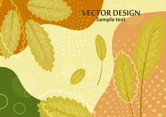 Creative bright abstract background with leaves and branches. Template for your design with space for text.