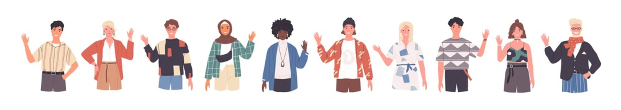 People greeting gesture flat vector illustrations set. Different nations representatives waving hand. Men, women in casual clothes, national costumes say hello. Male, female caucasian, african people.
