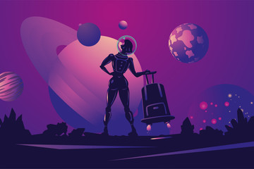 Woman astronaut in spacesuit with travel bag. Space trip cartoon illustration. Futuristic concept.