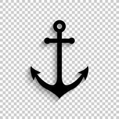Anchor - black vector  icon with shadow