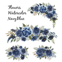 watercolor set of flower bouquet navy blue