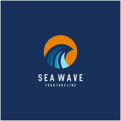 abstract ocean waves logo design with sun