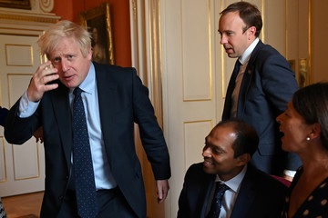 Britain's Prime Minister Boris Johnson meets with NHS workers inside 10 Downing Street in London