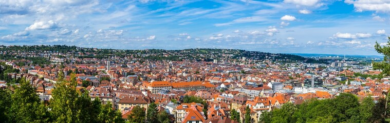 Aluminium Prints Panorama Photos Germany, XXL panorama of city stuttgart downtown houses and church aerial view above the roofs with sun in summer