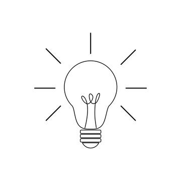 lightbulb vector icon isolated on white background creative thinking idea concept.