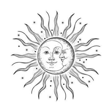 The face of the sun and moon. Retro illustration.