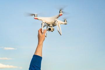Phantom 4 pro  quadcopter drone flying