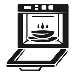 Open kitchen oven icon. Simple illustration of open kitchen oven vector icon for web design isolated on white background