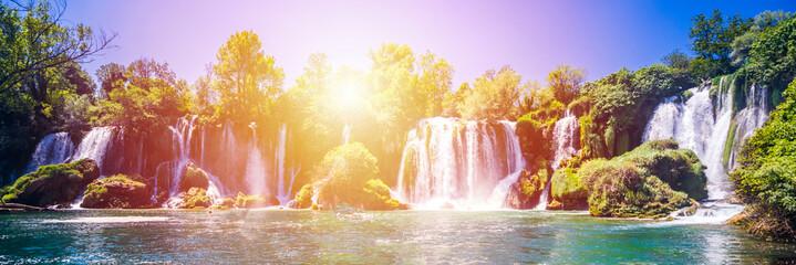 Printed kitchen splashbacks Purple Kravice waterfall on the Trebizat River in Bosnia and Herzegovina