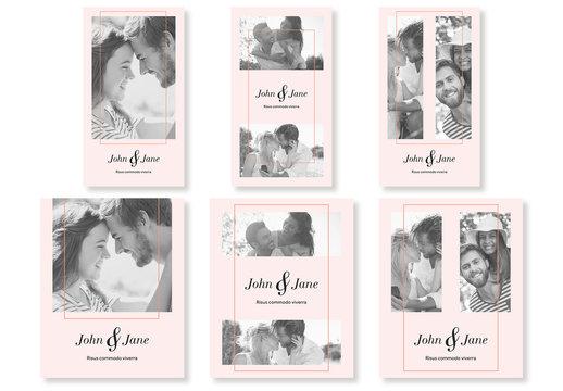 Pink Wedding-Themed Social Media Post Set