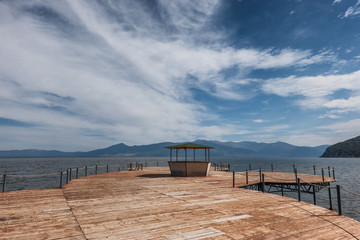 Lake Prespa lonely pier in Macedonia