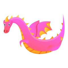 Flying pink dragon icon. Cartoon of flying pink dragon vector icon for web design isolated on white background