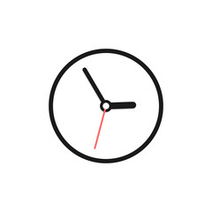 Clock Icon. Time logo. Wall clock isolated on white background. Vector Illustration.