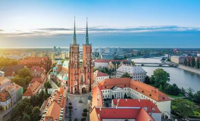 Obraz Panorama Wrocławia z katedrą św. Jana Chrzciciela, Polska - fototapety do salonu