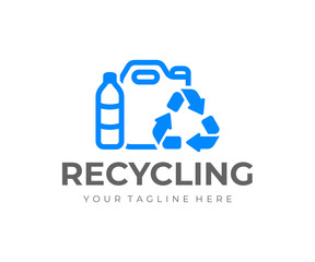 Plastic recycling logo design. Recycle plastic bottles vector design. Plastic refuse logotype