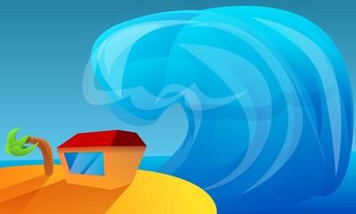 Big island tsunami concept banner. Cartoon illustration of big island tsunami vector concept banner for web design