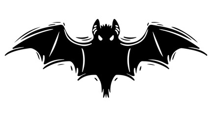 Bat with spread wings hand drawn silhouette illustration